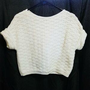 LOFT short sleeve jnit sweater crop top